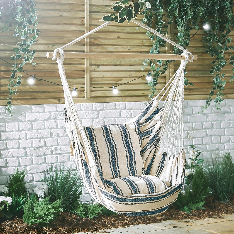 Vonhaus Striped Hanging Chair  100% Cotton Outdoor Swinging Cloth