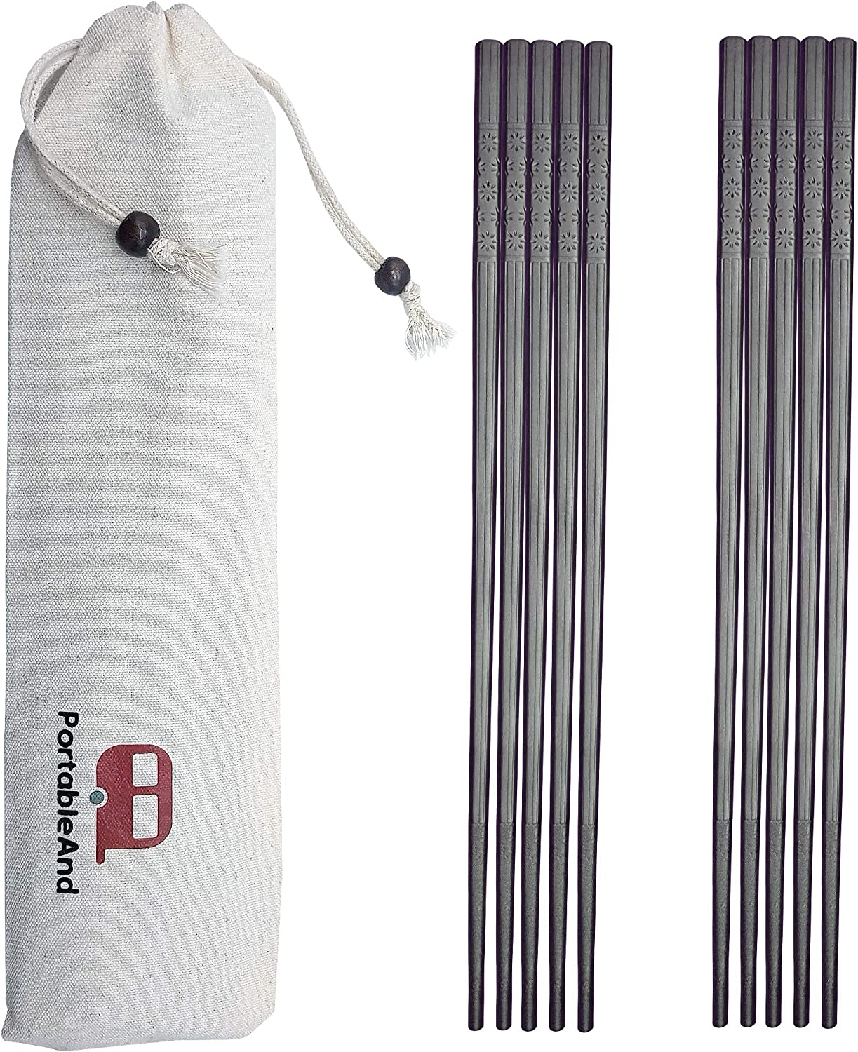 PortableAnd 5-pairs Fiberglass Reusable Chopsticks Set Dishwasher Safe 9 1/2 Inches for Sushi, Noodles and Asian Food with Multi-purpose Cotton Drawstring carry case