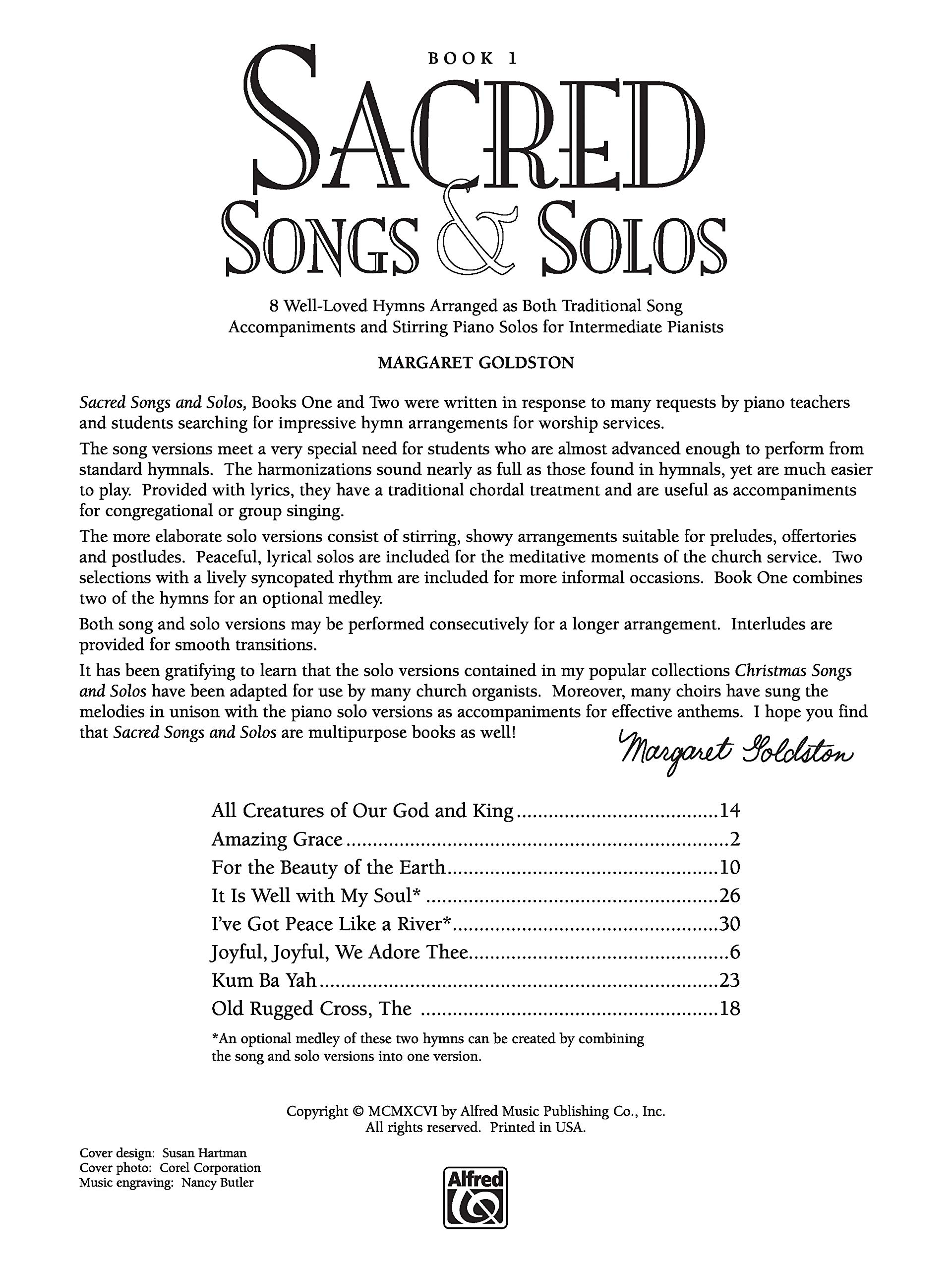 Sacred Songs Solos Bk 1 8 Well Loved Hymns Arranged As Both Traditional Song Accompaniments And Stirring Piano Solos For Intermediate Pianists Goldston Margaret 9780739020203 Amazon Com Books