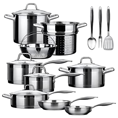 Duxtop SSIB-17 Professional 17 piece Stainless Steel Induction Cookware Set, Impact-bonded Technology.