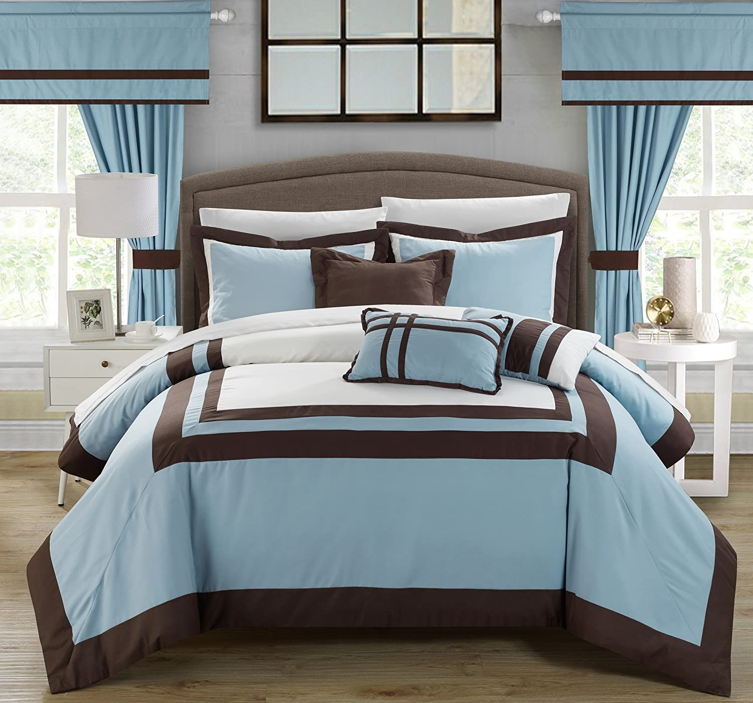 Amazon.com: Chic Home Ritz 20 Piece Comforter Set Color Block Bed In A Bag  With Sheets Curtains, Queen Blue: Home U0026 Kitchen