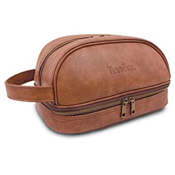 Amazon.com   Tersiva Leather Toiletry Bag For Men Women Unisex (Dopp Kit)  with free Travel Bottles   Beauty 1dd9029e359d1