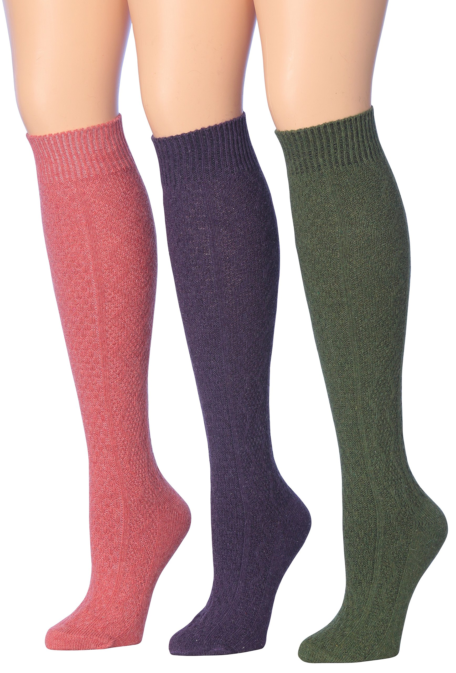 Tipi Toe Women's 3-Pairs Ragg Marled Argyle Knee High Wool-Blend Boot Socks, (sock size 9-11) Fits shoe size 6-9, WK01-D