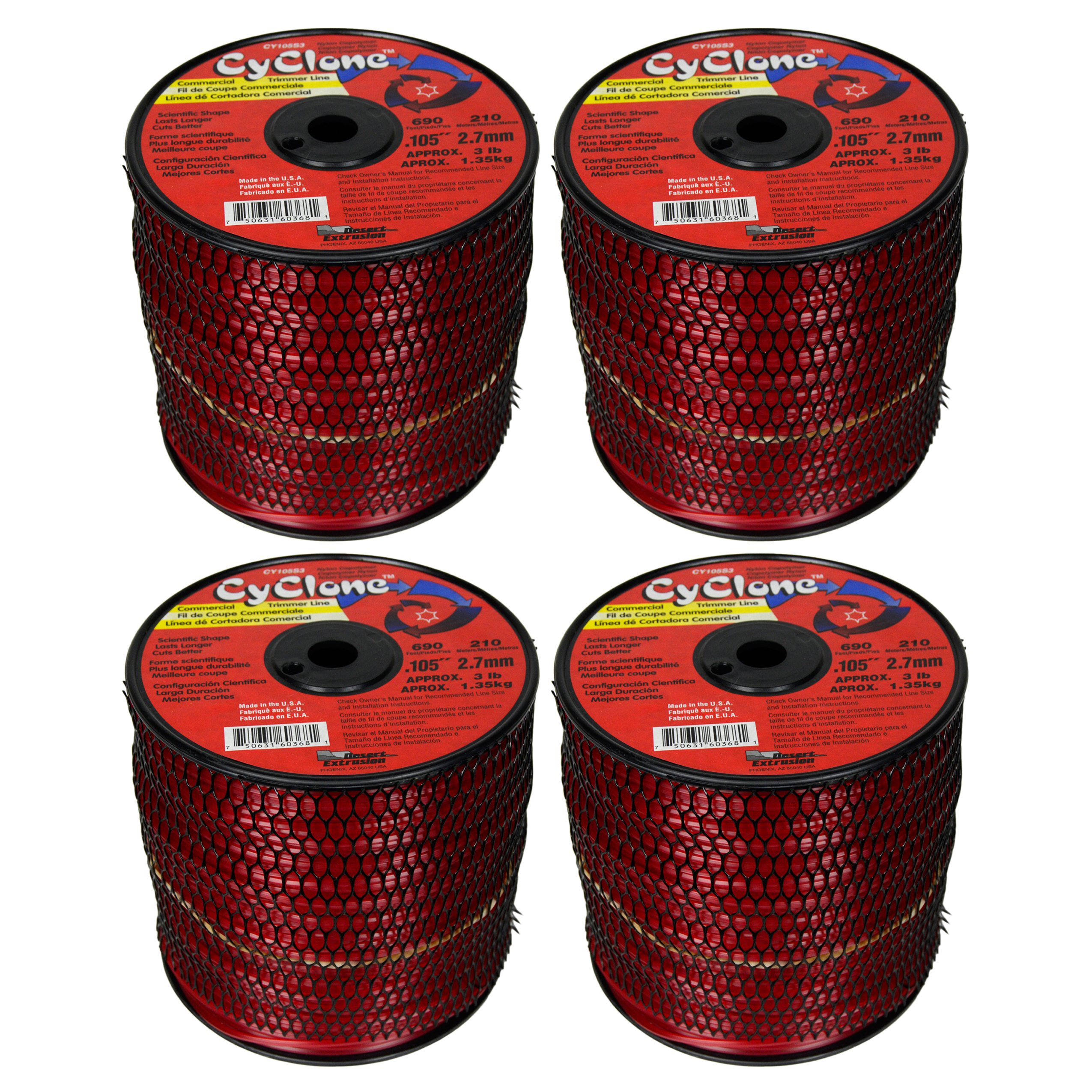 Cyclone Desert Extrusion CY105S3 .105'' x690' Commercial Line Red [2/Case] (4-Pack)