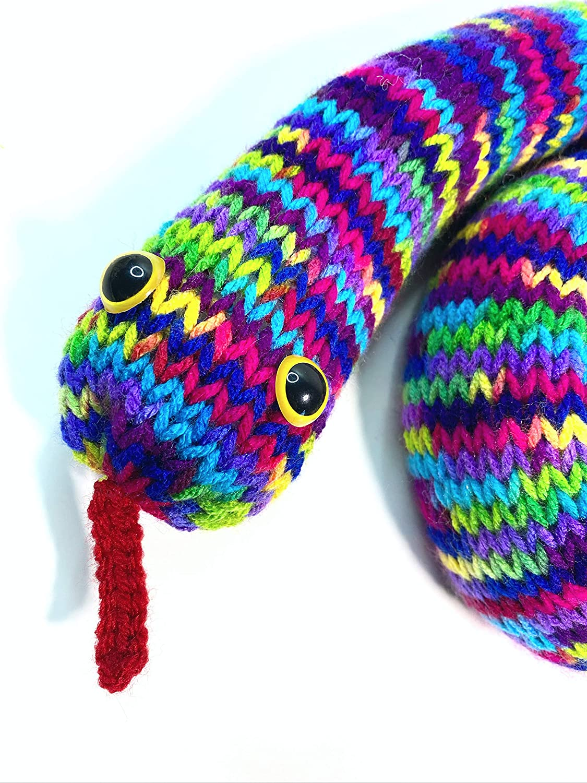 Rainbow knit stuffed snake toy gift Knit Snake Gift Knit stuffed toy snake Knit amigurumi snake gift Amigurumi stuffed snake toy
