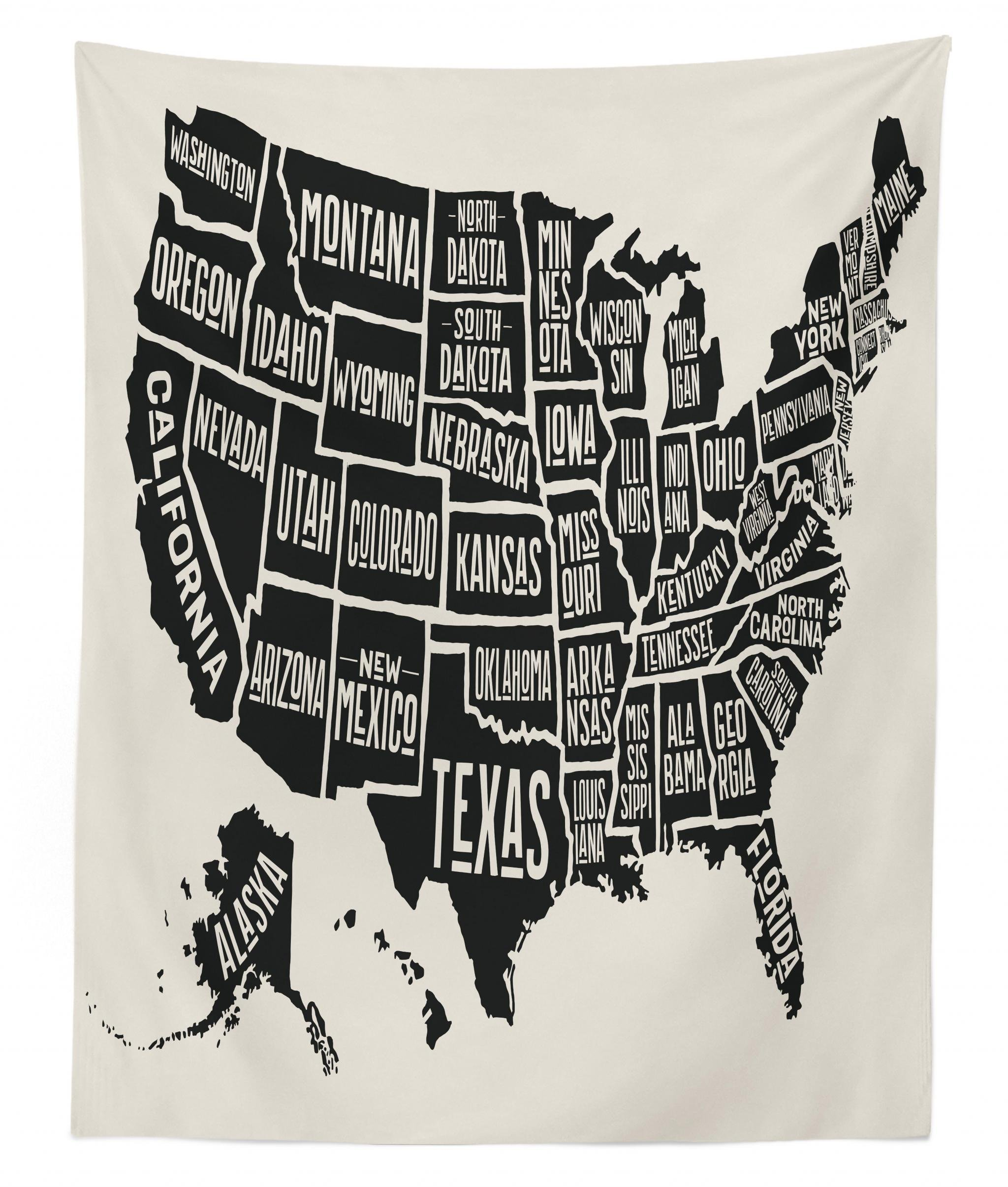 Lunarable USA Tapestry Twin Size, Black and White Style United States of America Map with Written State Names, Wall Hanging Bedspread Bed Cover Wall Decor, 68 W X 88 L Inches, Beige Charcoal Grey