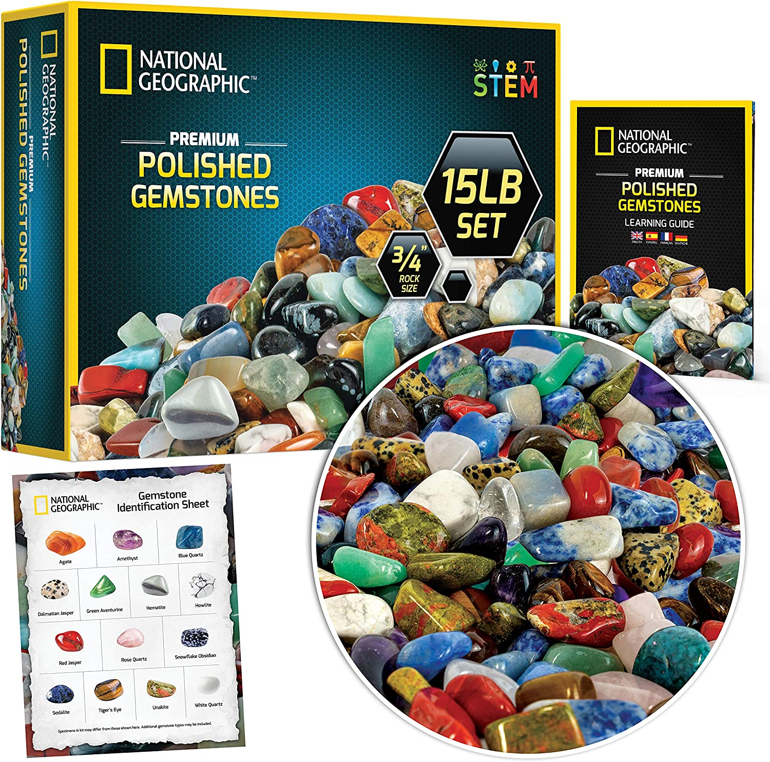 NATIONAL GEOGRAPHIC Premium Polished Gemstones - 15 Pounds of 3/4-Inch Stones and Crystals, Use for Aquarium Gravel, River Rock, Pebbles for Plants, Vase Fillers, STEM Rock Collections for Kids