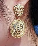 DOUBNINE Lion Head Earrings Coin Gold Baroque Earrings Vintage 80's for Women
