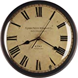 12-inch Vintage Metal Wall Clock, Convex Glass Lens, Quartz Movement, Home Decor - WM0613 Vintage Bronze