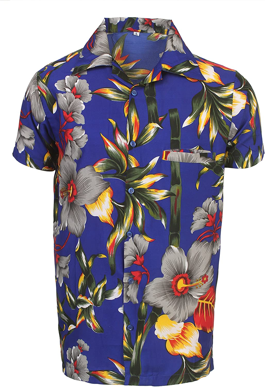 SAITARK - Camisa Casual - con Botones - para Hombre Multicolor B Stem Large: Amazon.es: Ropa y accesorios