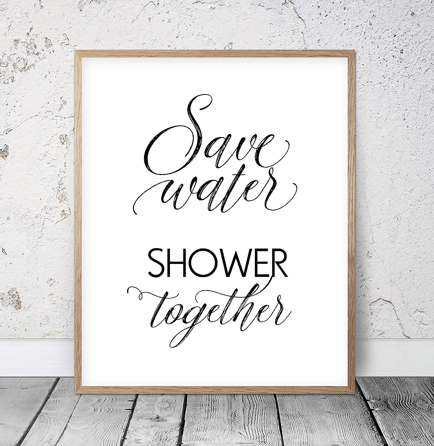 Amazon Com Funny Bathroom Decor Save Water Shower Together Bathroom Signs Bath Room Wall Art Shower Wall Decor Couples Gift Funny Bath Signs Wood Pallet Design Wall Art Sign Plaque With Frame Wooden
