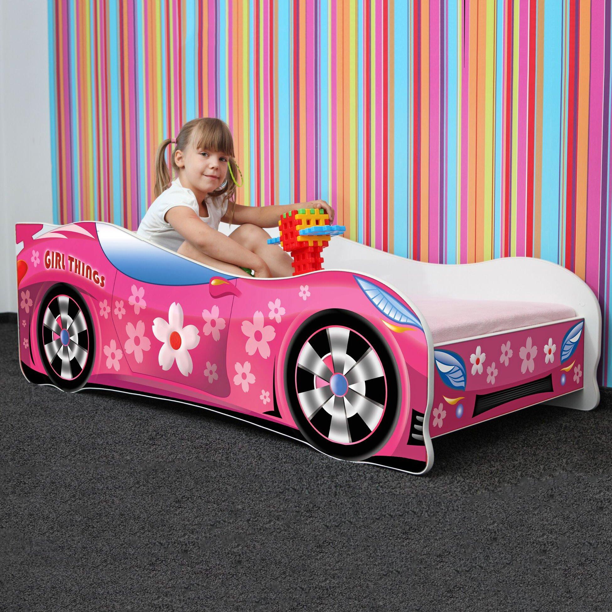LETTO PER BAMBINI 140X70 CM 160 x 80 CM 180 X 80 CM AUTO CARS + MATERASSO CON FODERA CERTIFICATO ECO LOGO (140 x 70 cm a 5 anni, PINK GIRL THINGS) product image