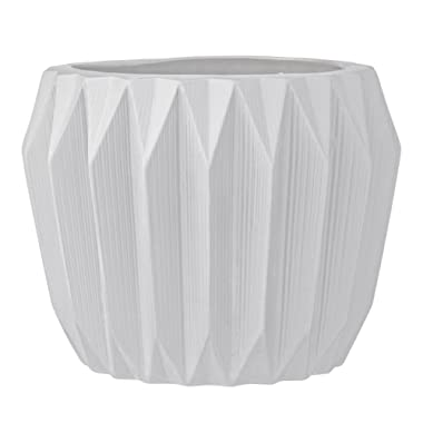 Bloomingville A21900020 White Fluted Stoneware Flower Pot