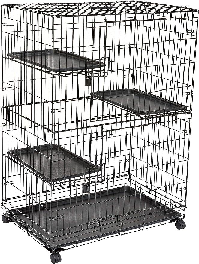 AmazonBasics - Jaula grande de 3 niveles para gato para jugar, 91 x 57 x 128,5 cm, Negro