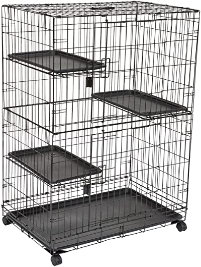 AmazonBasics Large 3-Tier Cat Cage Playpen Box Crate Kennel