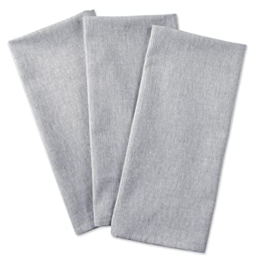 DII Cotton Chambray Dish Towel, 20x30  Set of 3, Monogrammable Oversized Kitchen Towels for Cooking and Baking-Gray