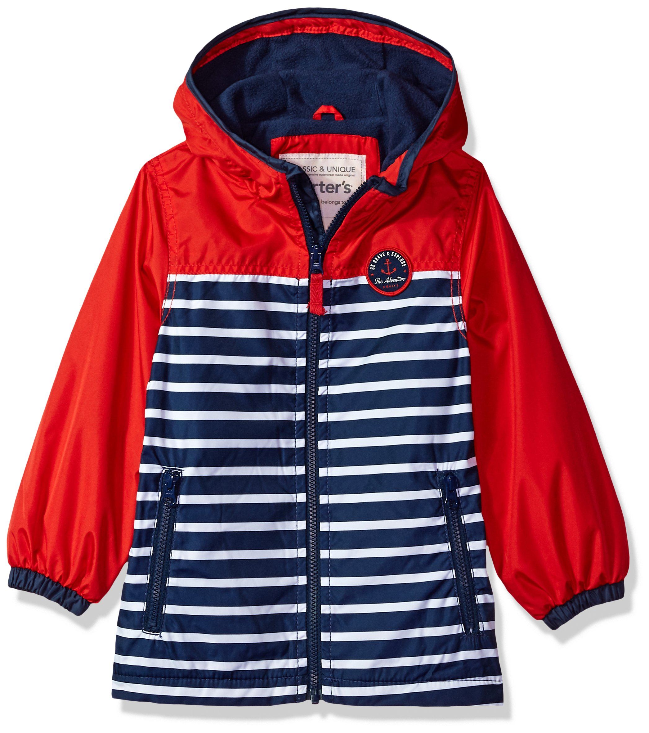 Carter's Boys' Toddler Fleece Lined Perfect Midweight Jacket, red/Navy, 3T