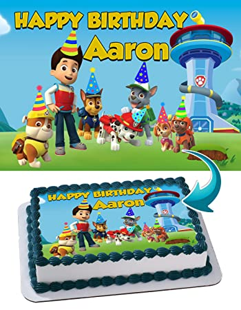 Image Unavailable Not Available For Color Paw Patrol Quarter Sheet Edible Photo Birthday Cake Topper