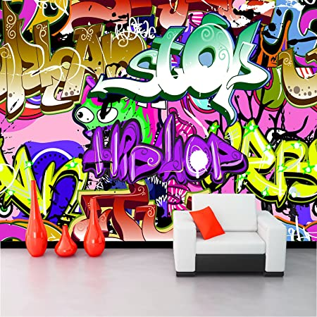 Non Woven Photo Wallpaper Wall Mural Colorful Graffiti Kn 1203 Xs