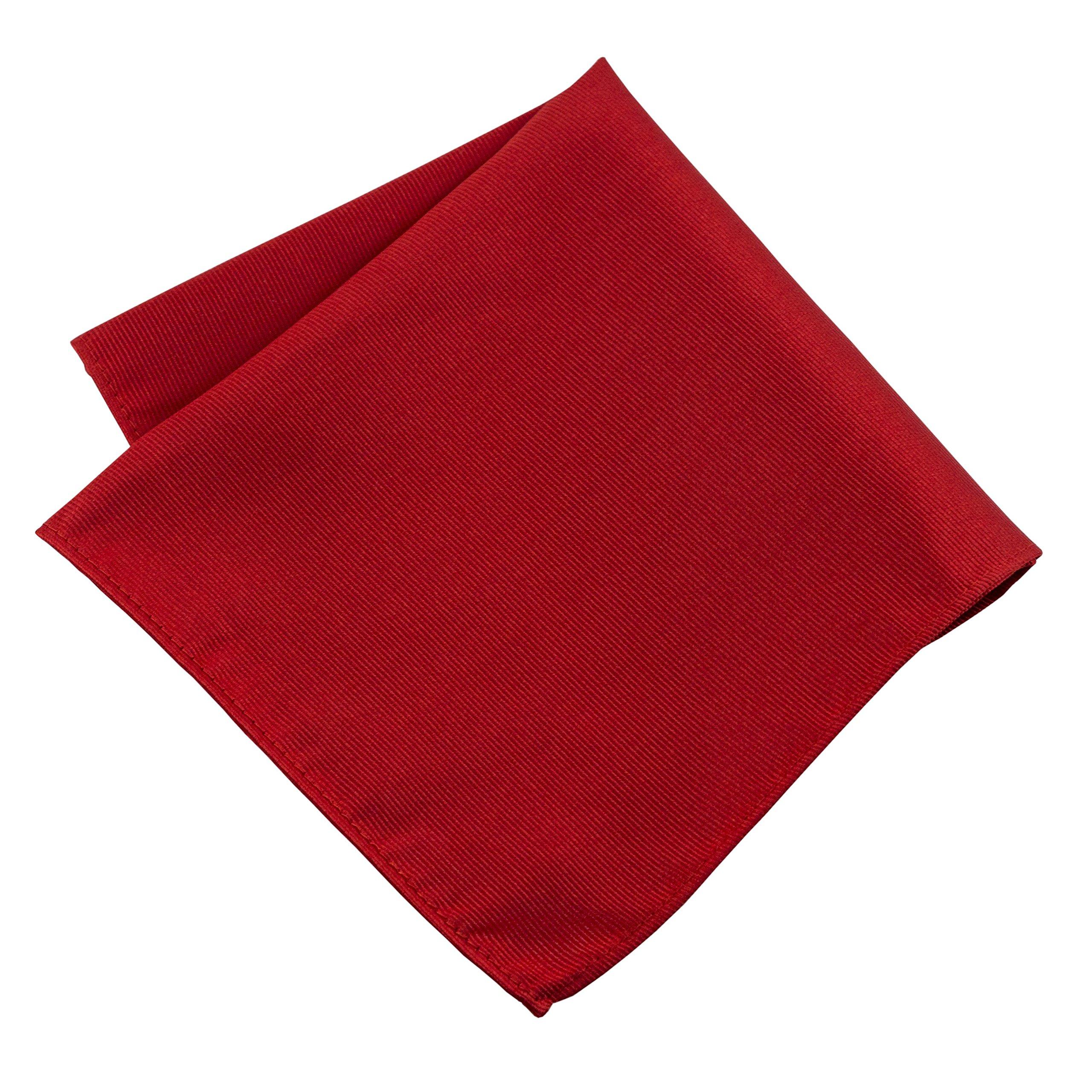100% Silk Woven Red Pocket Square Handkerchief by John William