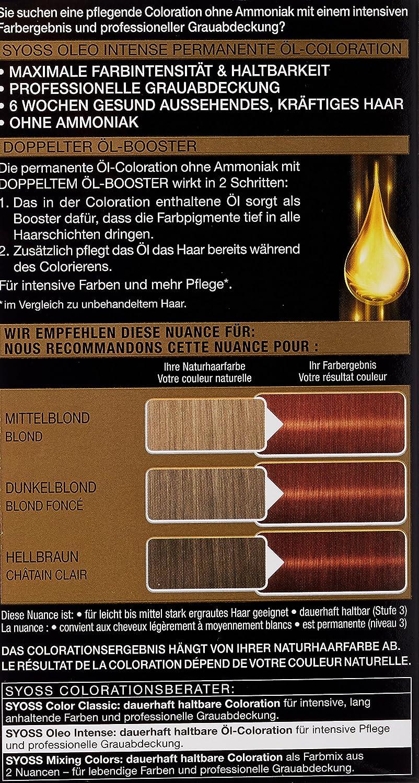 Syoss Oleo Intense Tinte para el cabello, 6-76, cobre cálido, 3 unidades (3 x 115 ml)