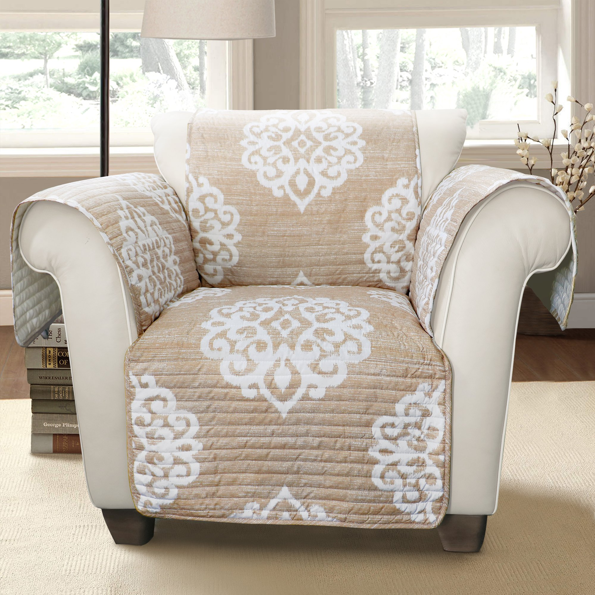 Lush Decor Sophie Arm Chair Furniture Protector, Taupe
