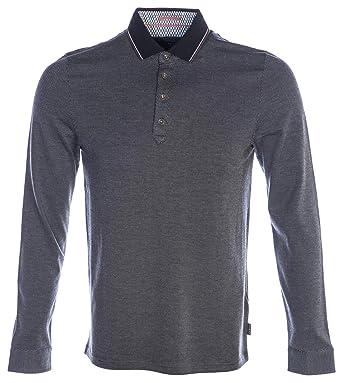 Ted Baker Mens Cuptea Long Sleeve Striped Polo Shirt - Black - M ...