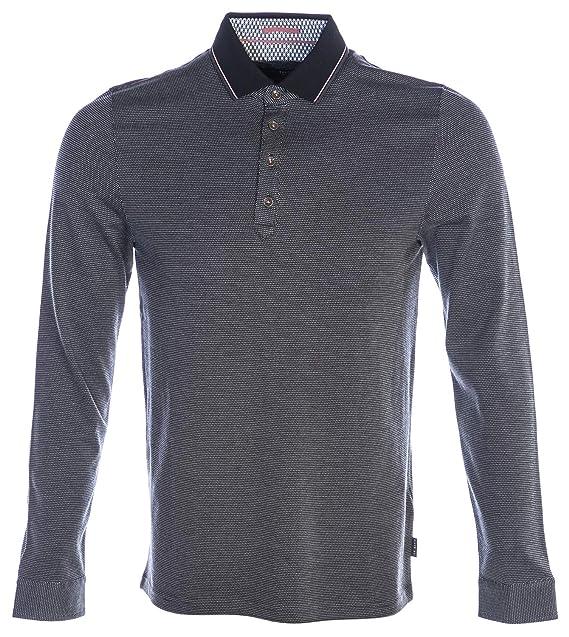 Ted Baker Mens Cuptea Long Sleeve Striped Polo Shirt - Black - XL ...