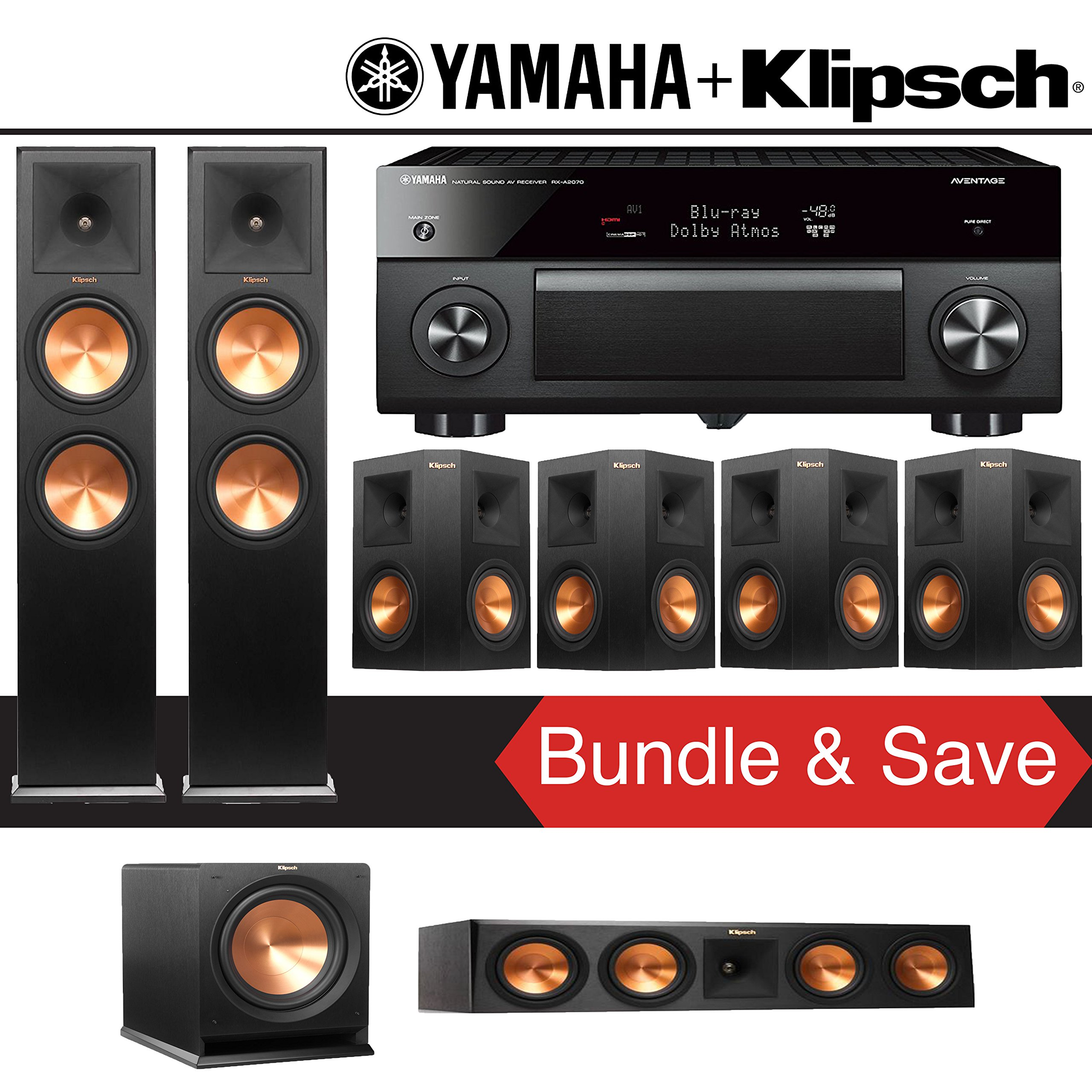 Klipsch RP-280F 7.1-Ch Reference Premiere Home Theater System with Yamaha AVENTAGE RX-A2070BL 9.2-Channel Network AV Receiver by Klipsch