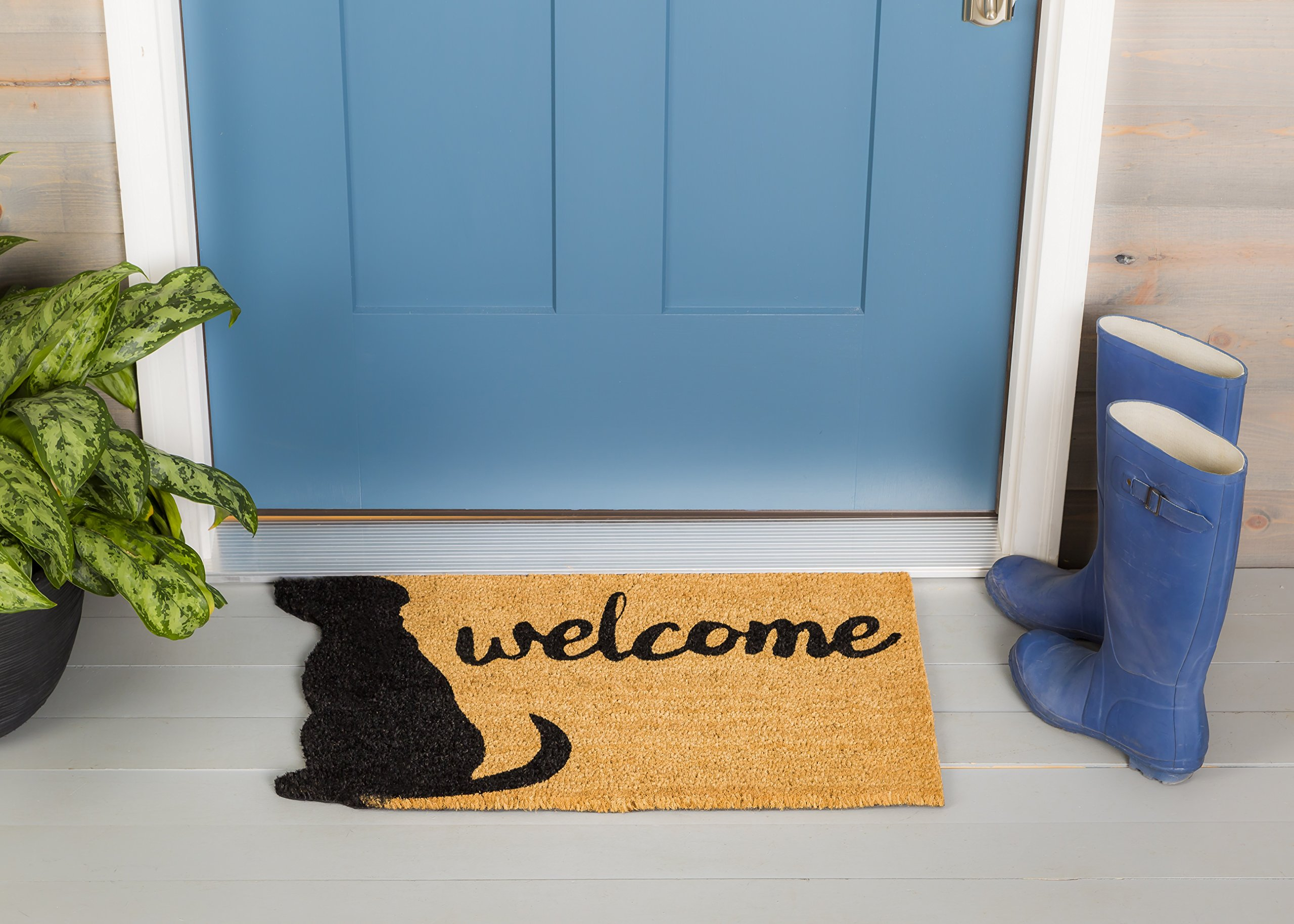 Evergreen Dog Welcome Shaped Coir Mat, 28 x 16 Inches