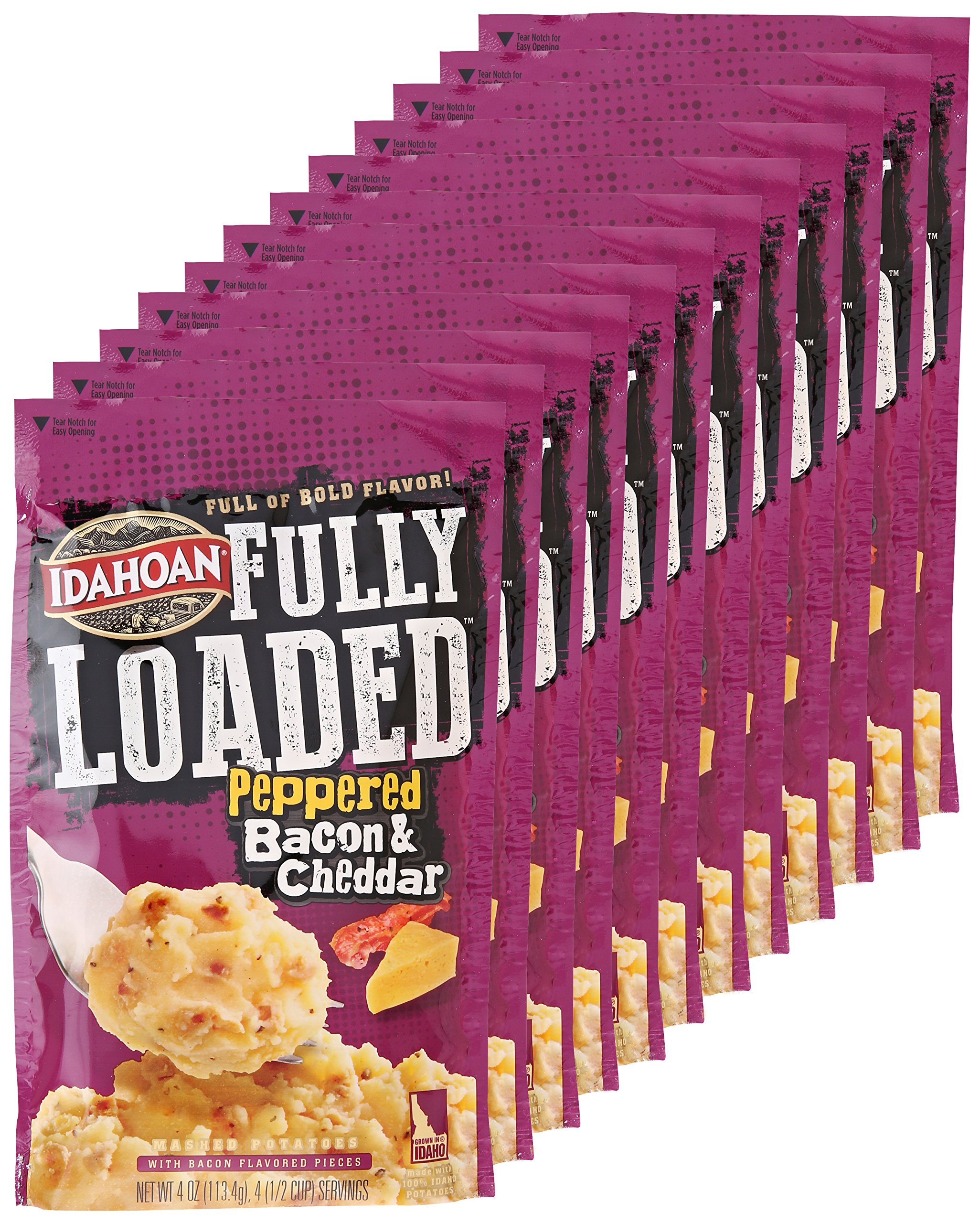 Idahoan Fully Loaded Peppered Bacon and Mashed Cheddar Potatoes, 4 Ounce (Pack of 12) by Idahoan