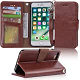 Arae Case for iPhone 7 / iPhone 8 / iPhone SE 2020, Premium PU Leather Wallet Case with Kickstand and Flip Cover for iPhone 7 / iPhone 8 / iPhone SE 2nd Generation 4.7 inch - Brown