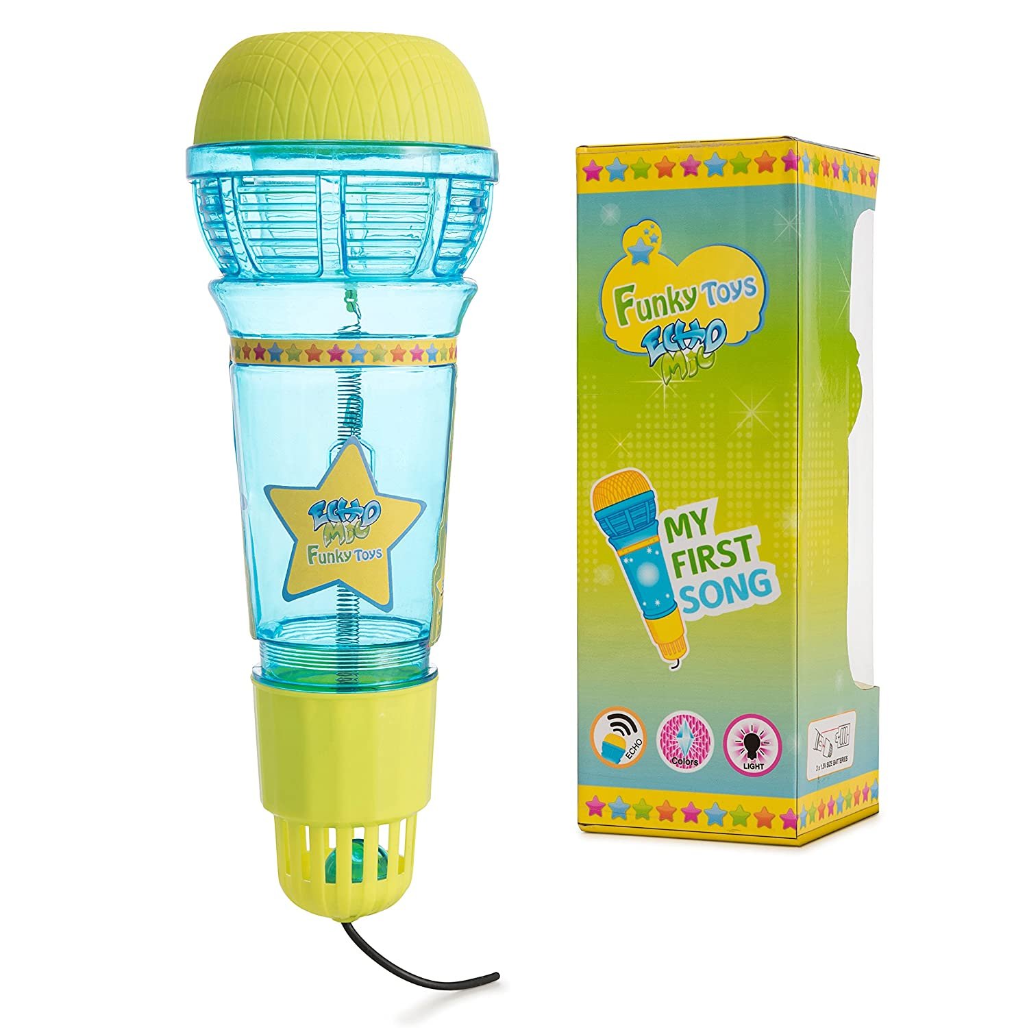 Funky Toys Echo Mic For Kids & Toddlers By Magic Microphone Toy With Multicolored Flashing Light & Fun Rattle - Translucent Blue & Yellow - Great Gift For Boys & Girls Who Love Singing & Music