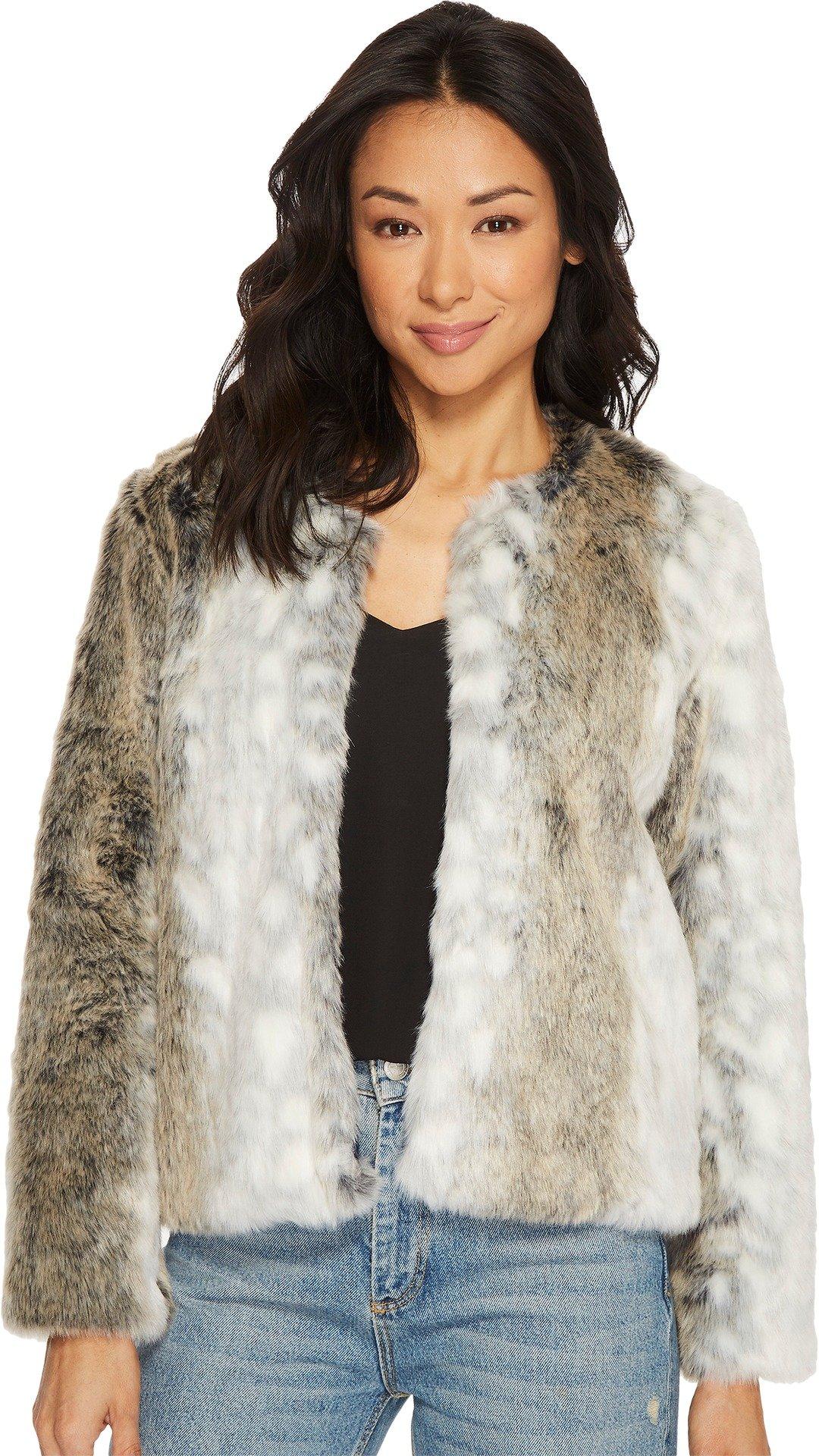 Tavik Women's Oliver Faux Fur Jacket White/Black Stripe Small