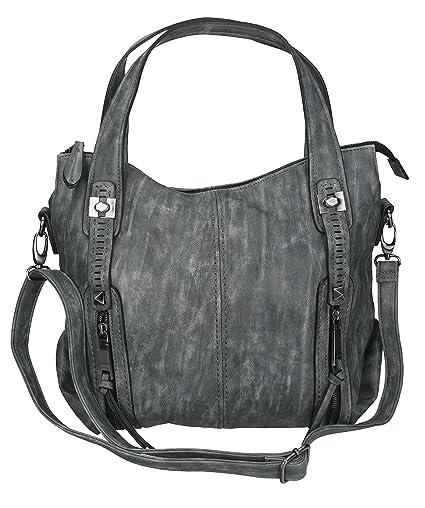 Betz - Sac à main pour femme MADRID 1, sac à bandoulière avec fermeture éclair et deux anses couleur gris