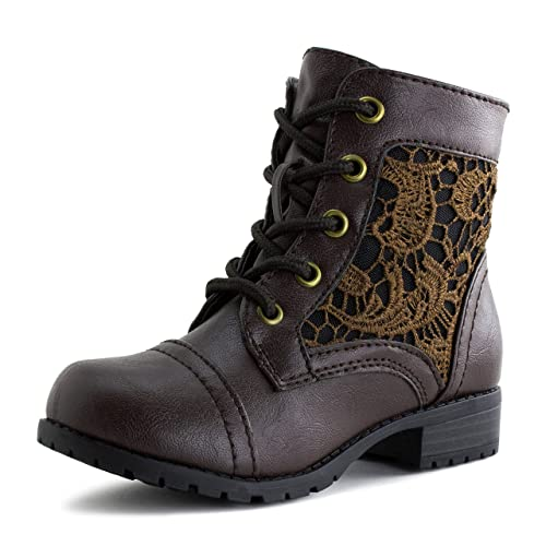Kali Footwear Girls Lace Up Flower Embroider Military Ankle Boots (Little  Kid)