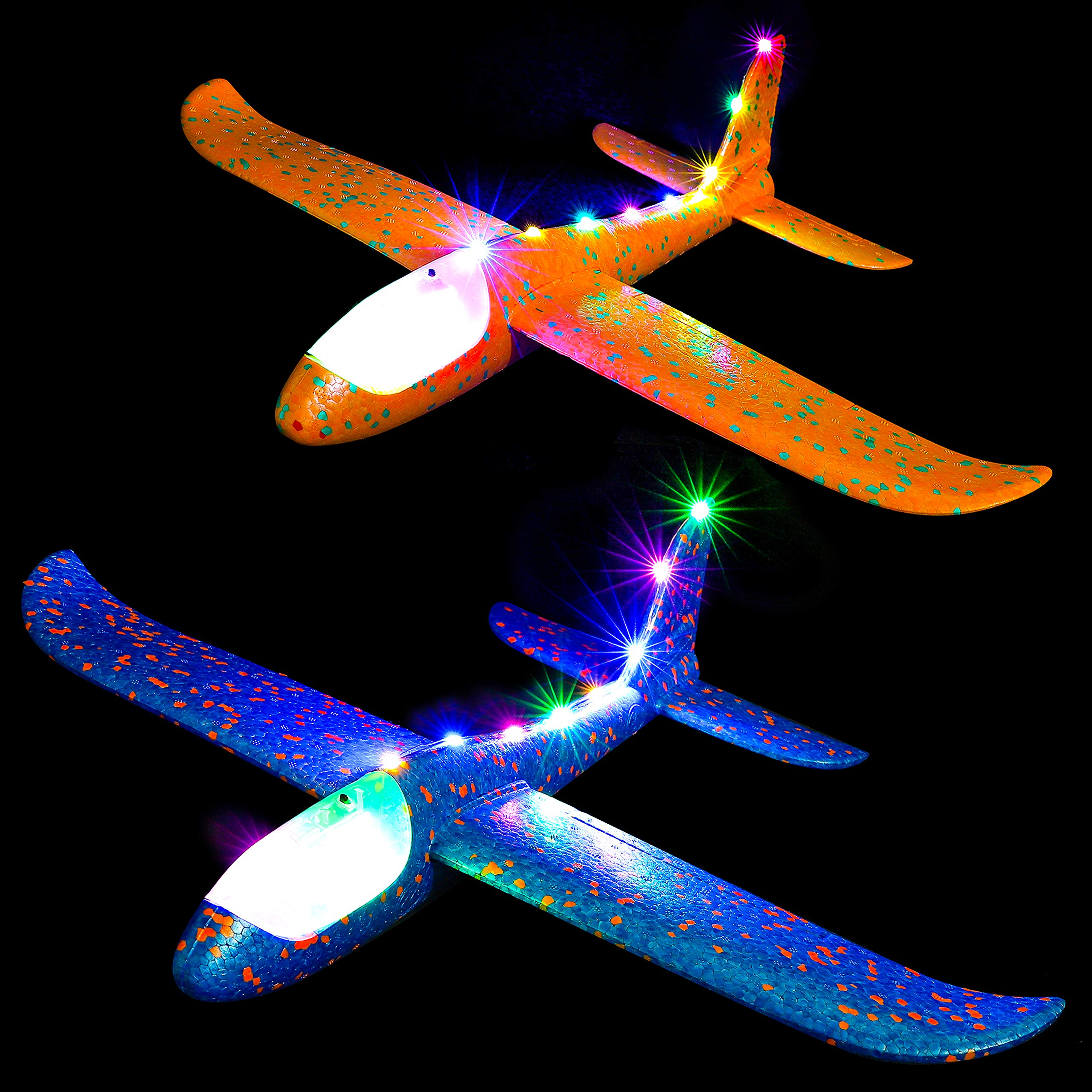 WATINC 2 Pcs 20inch Airplane with Colorful Light Manual Foam Flying Glider Planes Throwing Fun Challenging Games Outdoor Sports Toy Model Airplanes Blue Orange Foam Aircraft for Boys Girls by WATINC