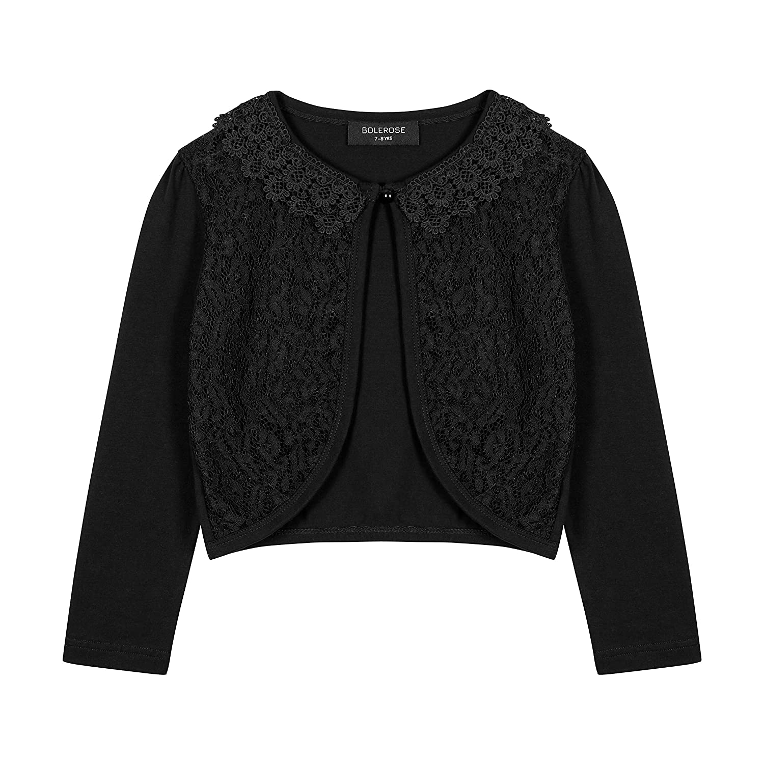 Bolerose Girls Long Sleeve Floral Lace Bolero Cardigan Kids Shrug Cover Up