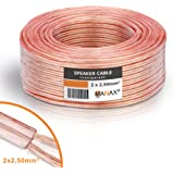 Cable para altavoz (2 x 2,5 mm², transparente, anillo de 50 m