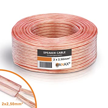 MANAX Cable de altavoz (2 x 2,5 mm², transparente, anillo de