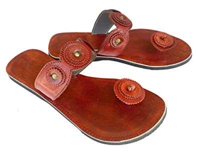 e53e42113b23 Handcrafted Luxury Womens Indian Leather Sandals Ladies Party Wear Brown  Strap Slippers (US 6)