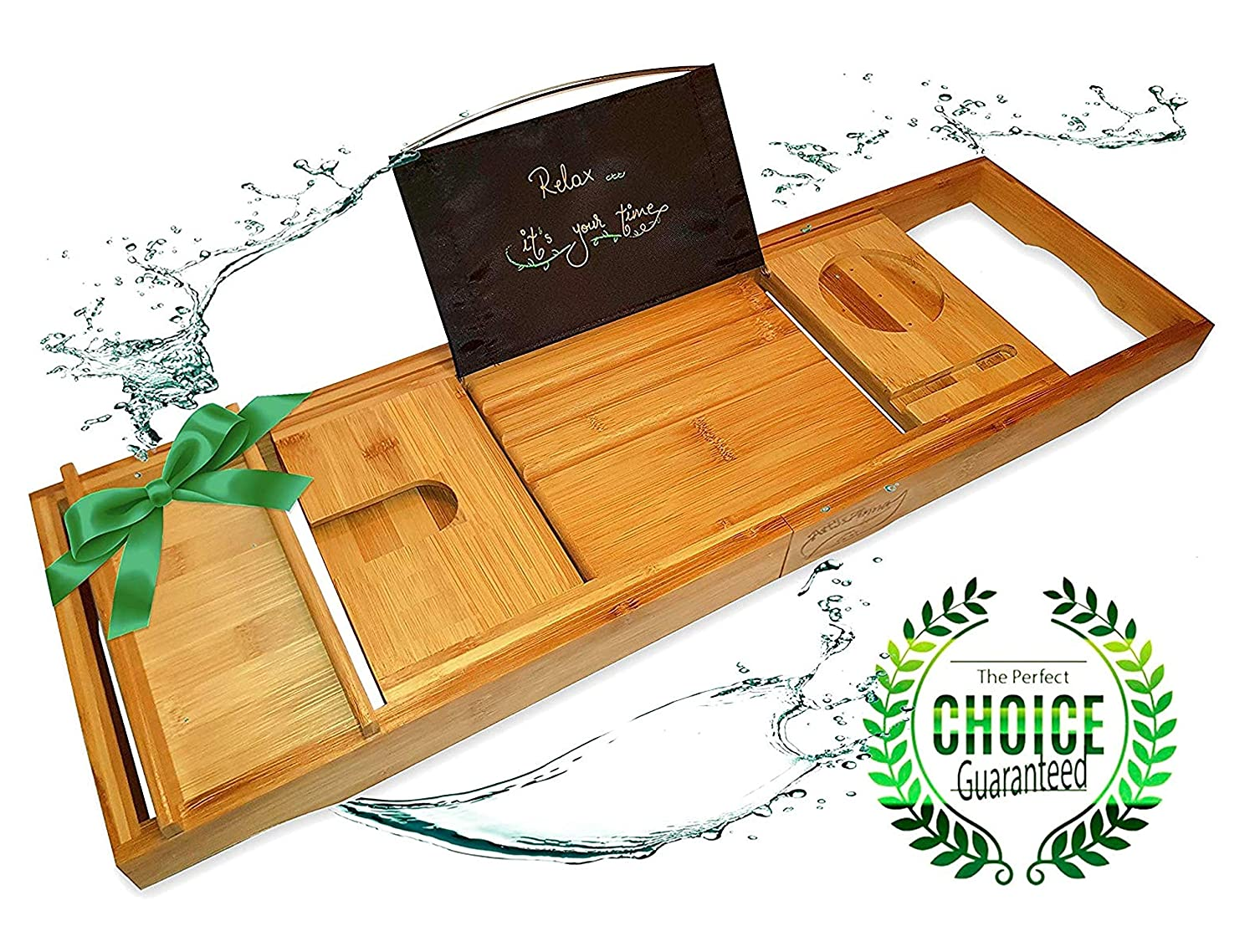 Extendable Luxury Book For Bath Caddies & Storage Bath New Fashion Relux Premium 100% Natural Bamboo Bath Caddy Bridge