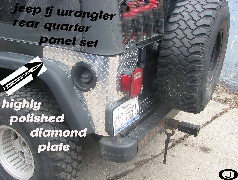Jeep Tj Wrangler 2 Pc Diamond Plate Rear Body Armor Corner Guard Kit J & O Carts Parts