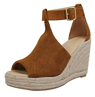 b20665d10e740 City Classified Women's Peep Toe Perforated Ankle Strap Espadrilles Wedge