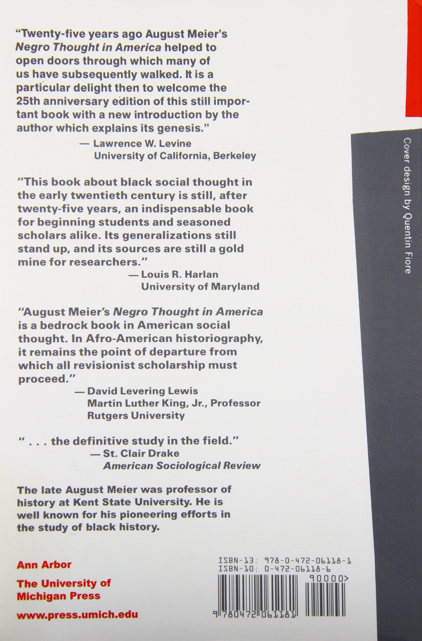 Negro Thought In America, 18801915: Racial Ideologies In The Age Of Booker  T Washington (ann Arbor Paperbacks): Prof August Meier: 9780472061181: