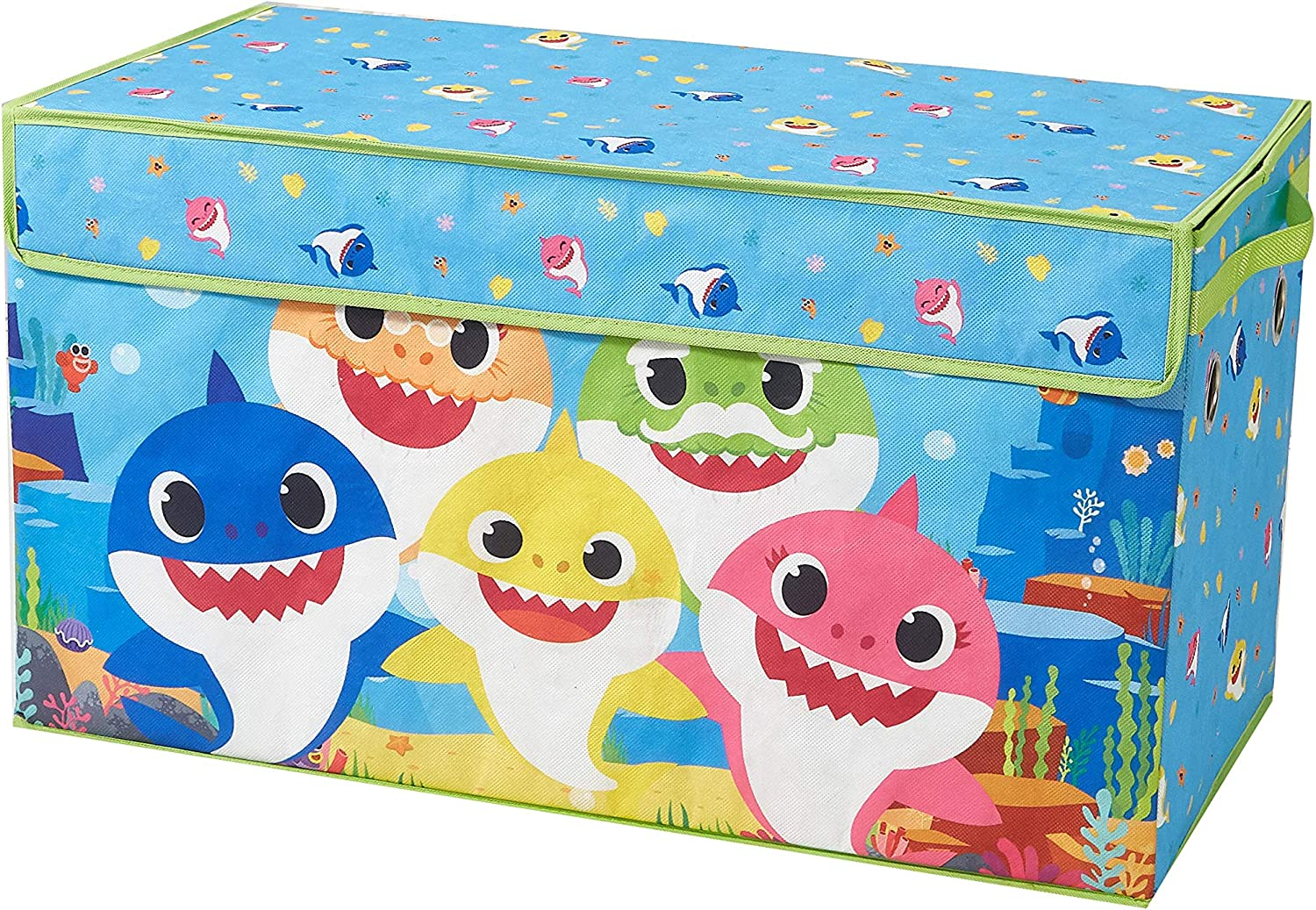 Idea Nuova Baby Shark Collapsible Children's Toy Storage Trunk, Durable with Lid