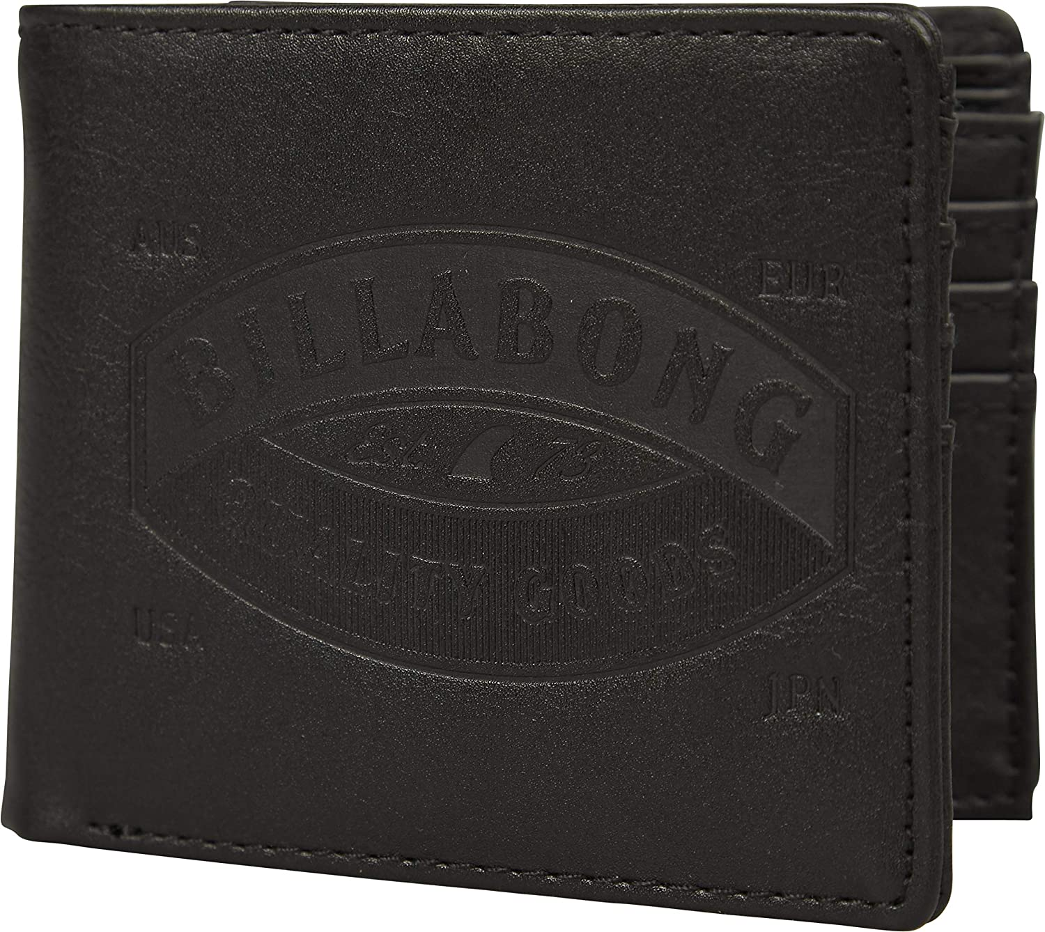 Coin and Note pockets ~ Fifty50 black Billabong BiFold Wallet With Card