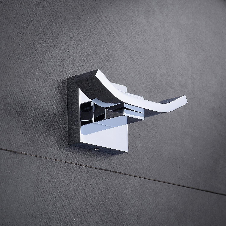 Bademantelhaken Handtuchhaken Chrom Messing Wand Doppelhaken f/ür Bad und K/üche