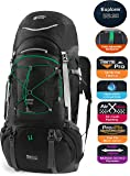 TERRA PEAK Adjustable Hiking Backpack 55L/65L/85L+20L for Men Women With Free Rain Cover Included Black Navy Green and Dark Grey