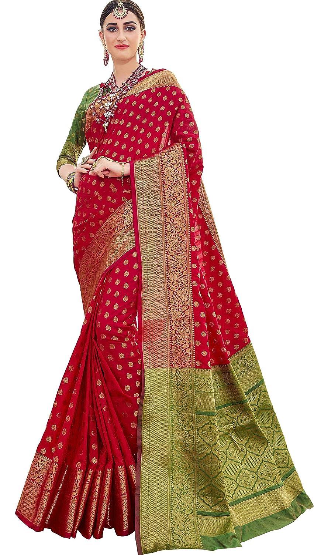de7f505580ade EthnicJunction Booti Zari Butta Banarasi Silk Saree With Zari Thread Work  Unstitched Blouse Piece(EJ1178-7978